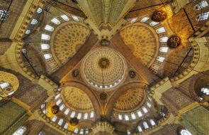 ceiling view of Yeni Mosque in Istanbul, Turkey