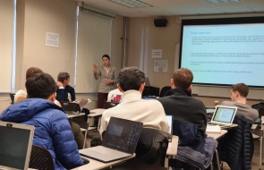 Dr. Albulene Kastrati, Fulbright Visiting Scholar at Duke, speaks to students on Emerging Markets