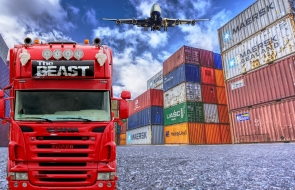 Large truck, plane and large storage containers