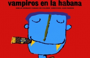 Cartoon image of blue face with cigar