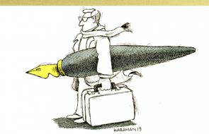 Man carrying a pen