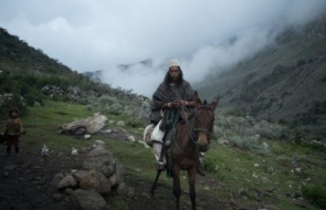Man riding an animal in the mountains