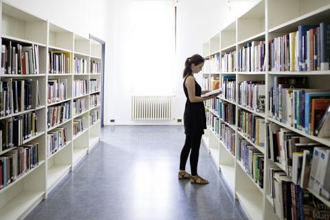 Image of student at VIU library