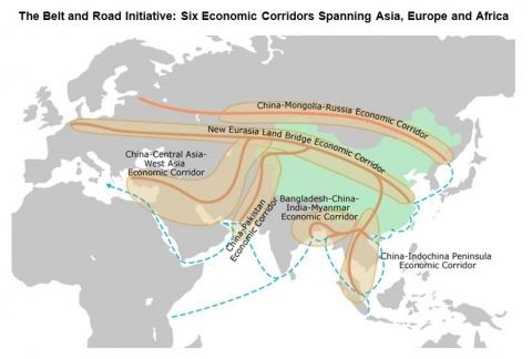 BRI Corridor map (Hong Kong Trade Development Council)