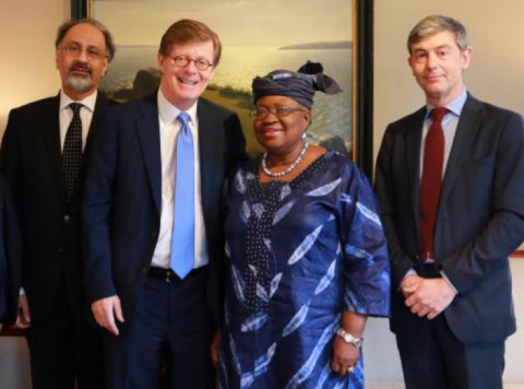 From left: Indermit Gill (Former Director, DCID), President of Duke University Vincent Price, economist Ngozi Okonjo-Iweala, and Giovanni Zanalda (Director, DUCIGS). Photo by Emilie Poplett