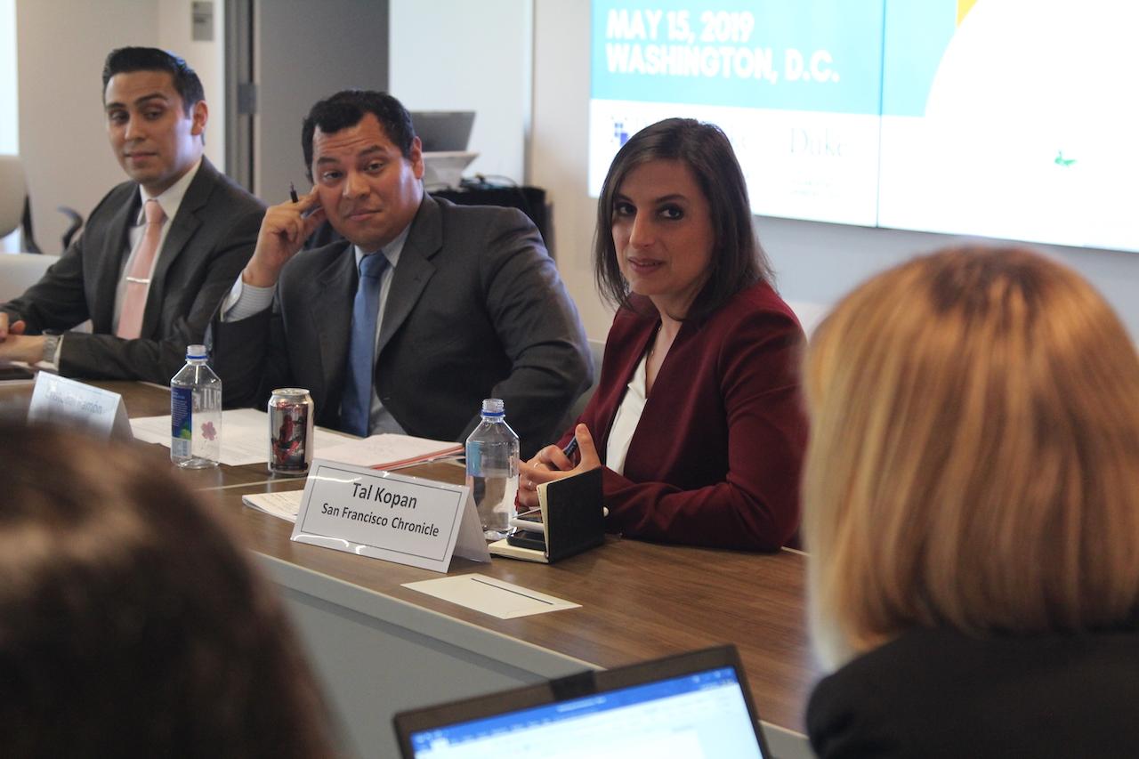 Sarah Bermeo speaks to panelists